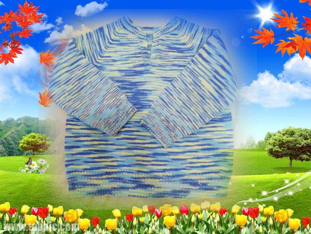 69 棒针编织作品秀 69 儿子的毛衣,背心和母亲编织的篮子    给