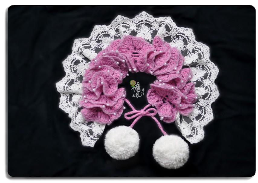 钩针绒球小围巾