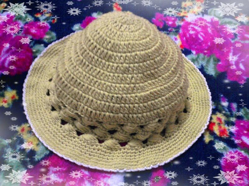 69 儿童毛衣(钩针) 69 完成的婴幼儿太阳帽    织法:   第一行:起