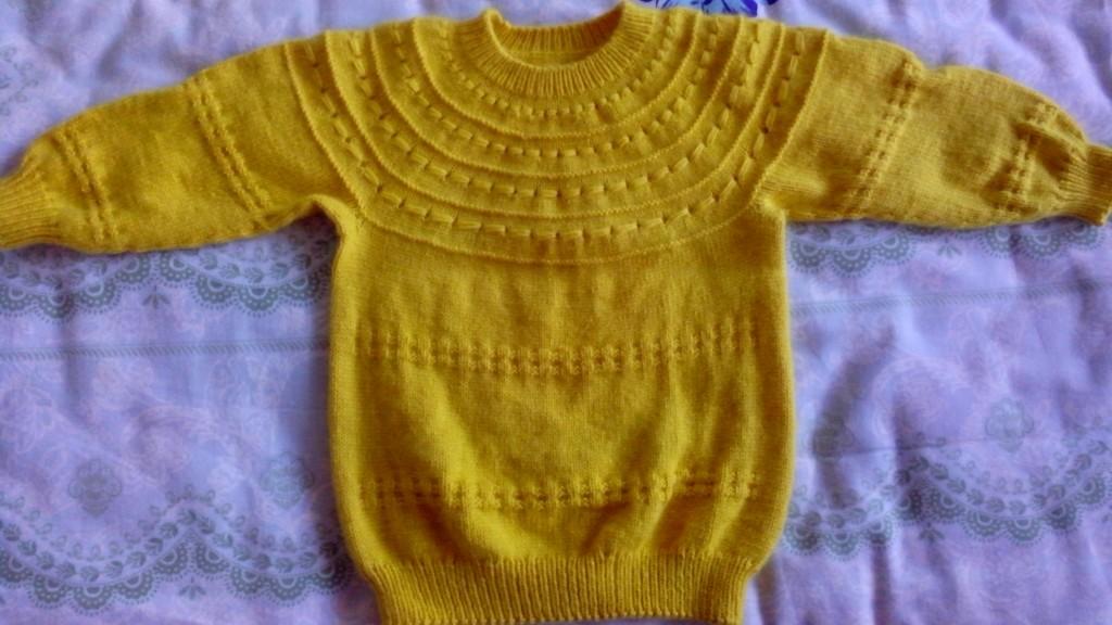 儿童毛衣 从上往下织的毛衣