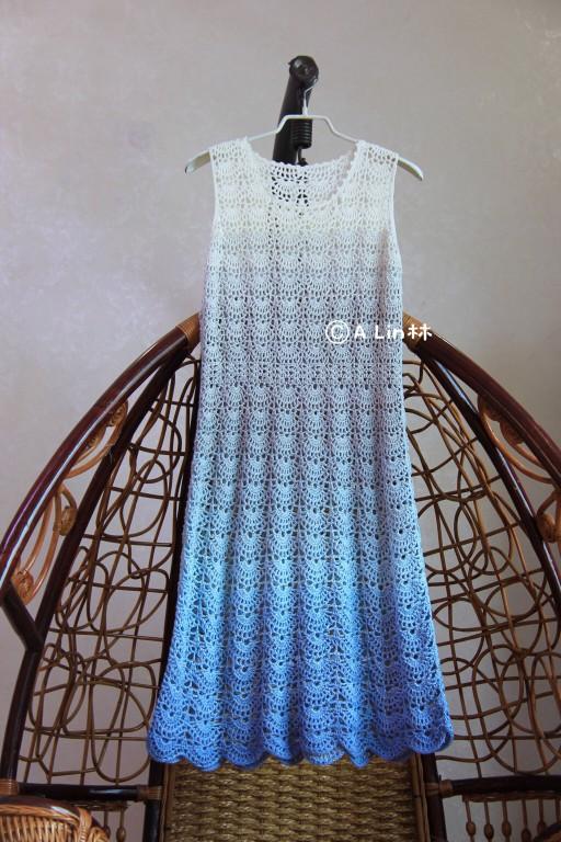 蛋糕线钩针编织女士渐变夏日无袖裙  tips: 1,为了过渡自然,这款裙子
