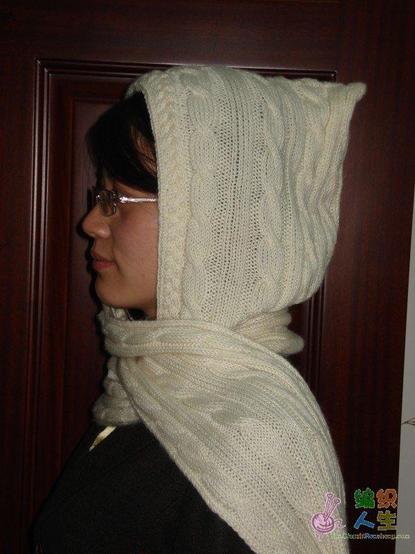 女士棒针连帽围巾