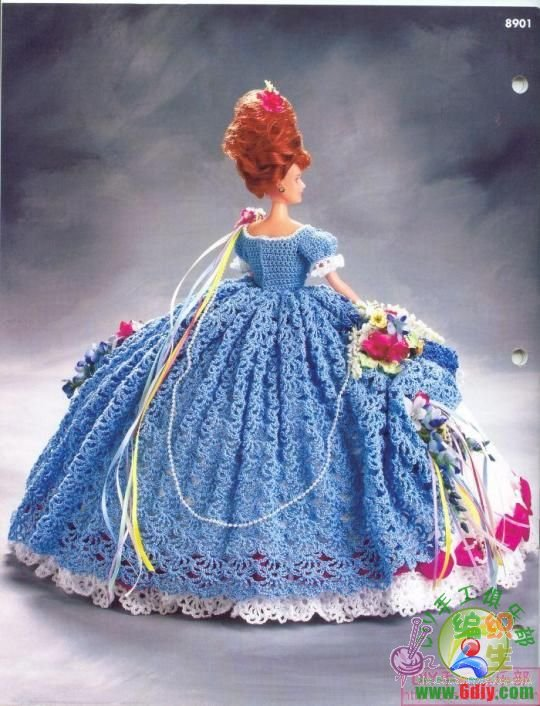 求芭比娃娃钩针婚纱的图解
