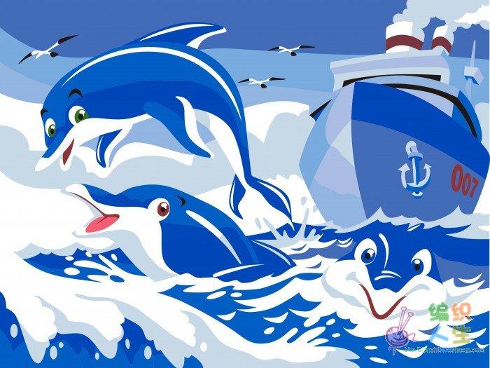 海豚系列 diy手绘数字油画