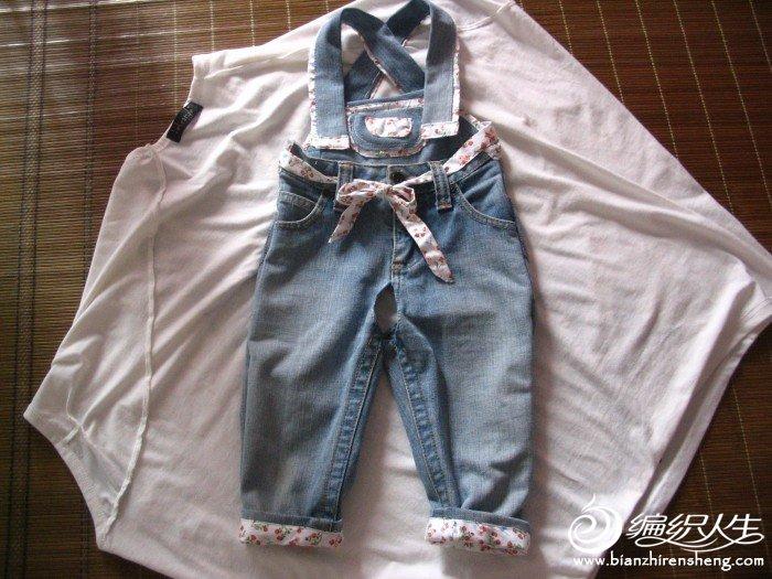 旧牛仔裤改的宝宝背带裤