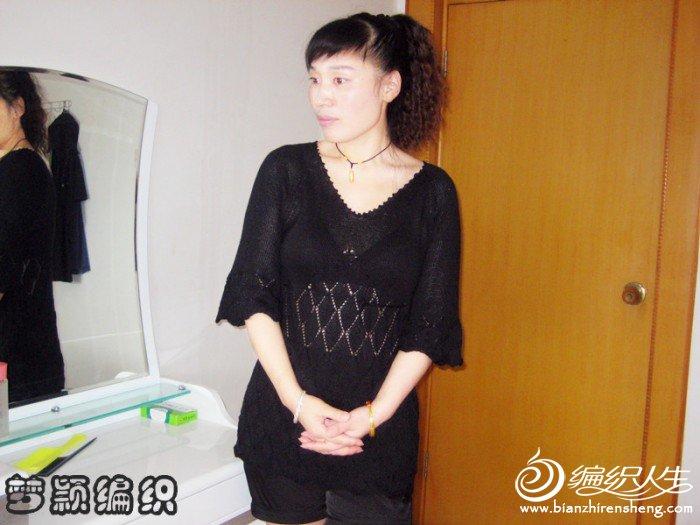 初秋黑色时尚韩版宽中袖衣1.jpg