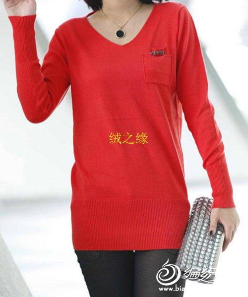 女式大红单面平针v领羊绒衫