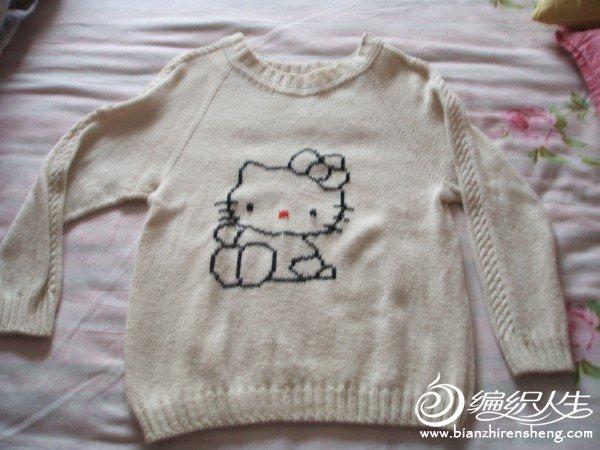 给侄女的毛衣,11岁,羊毛线4股,领子起了144针,大了,做低领穿。