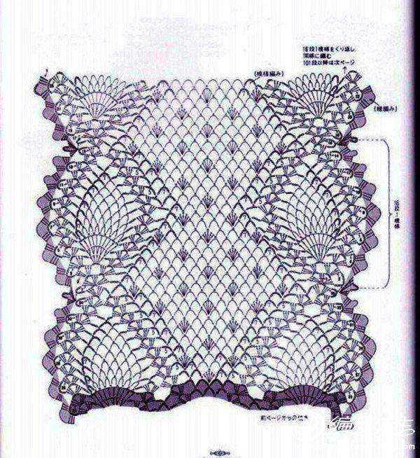菠萝花小围巾图解2