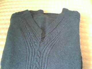 鸡心领毛衣,从上往下织的
