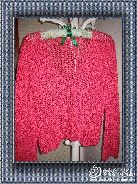 这是埃及绒绵线钩的开衫——  一片红