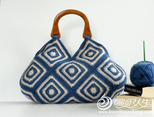 蓝白回纹木手挽包包.jpg