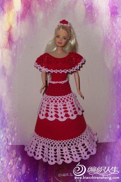 第一次钩芭比娃娃裙子