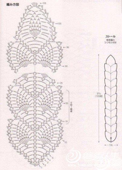 看不清楚原图,哪位织女有没有清晰的图解啊,我想钩这个围巾,谢谢各位了