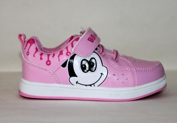 百变米奇女小童粉色运动滑板鞋