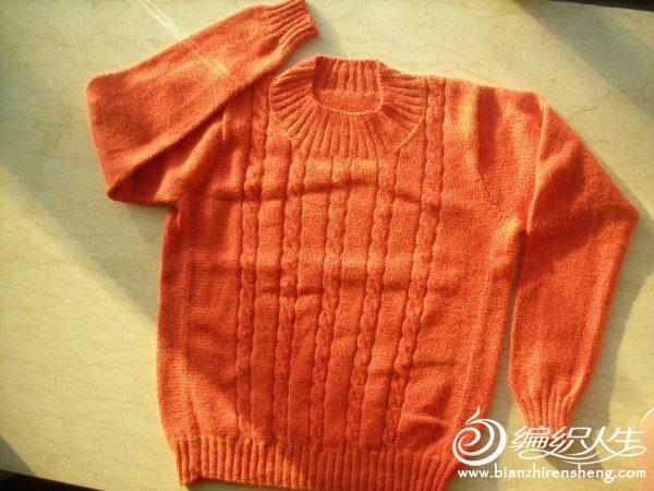 前面织麻花小一点,后面借了点过来。看起来有条接缝,成衣颜色喜欢。