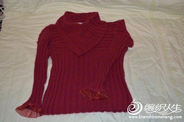 很喜欢酒红色,就利用假期织了一件
