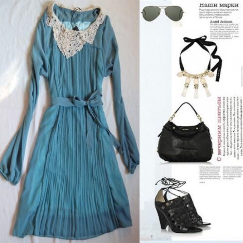 2012春装高品质蕾丝領边时尚雪纺连衣裙6881