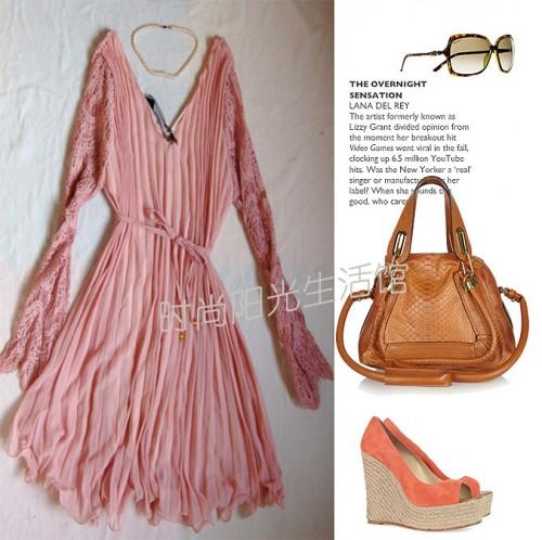 2012春夏高品质蕾丝长袖大V领时尚雪纺裙衫