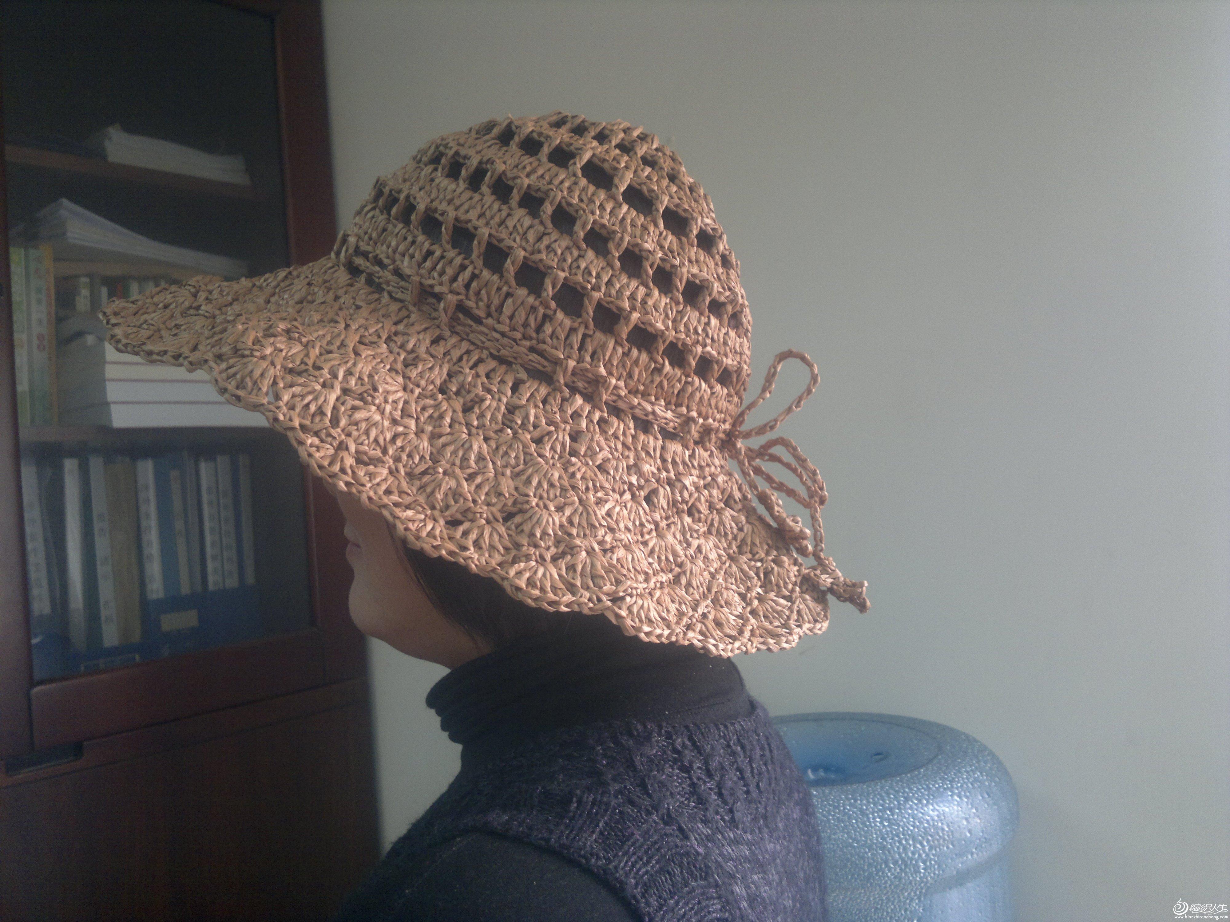 夏季棉草帽子 披肩围巾帽子 钩针