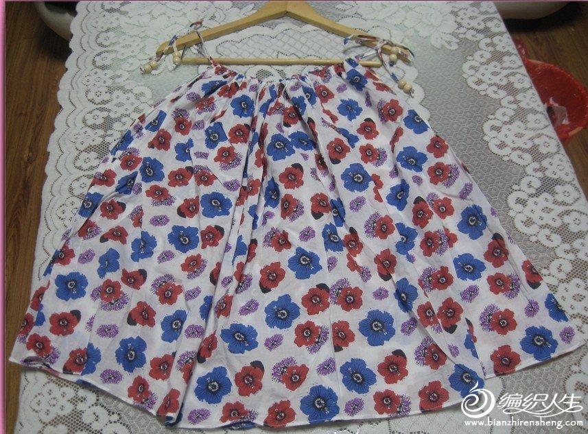 全新全棉花朵吊带半裙两穿