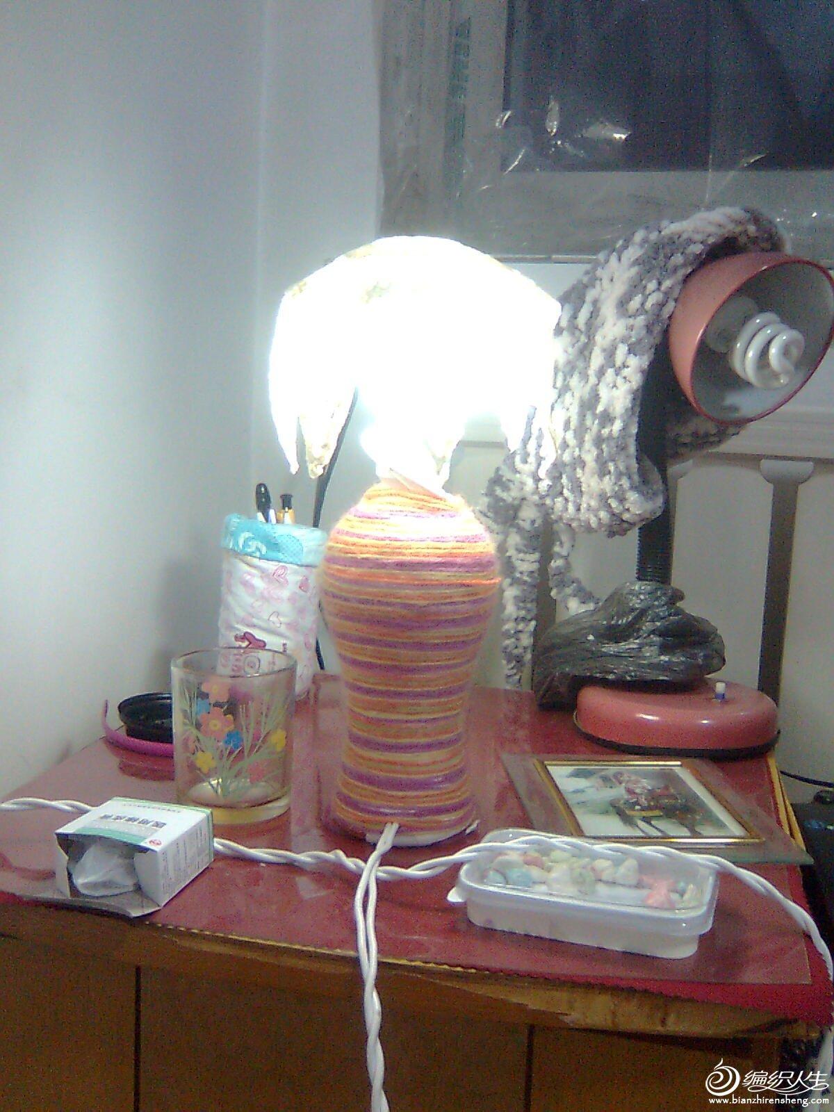 毛线制作的台灯