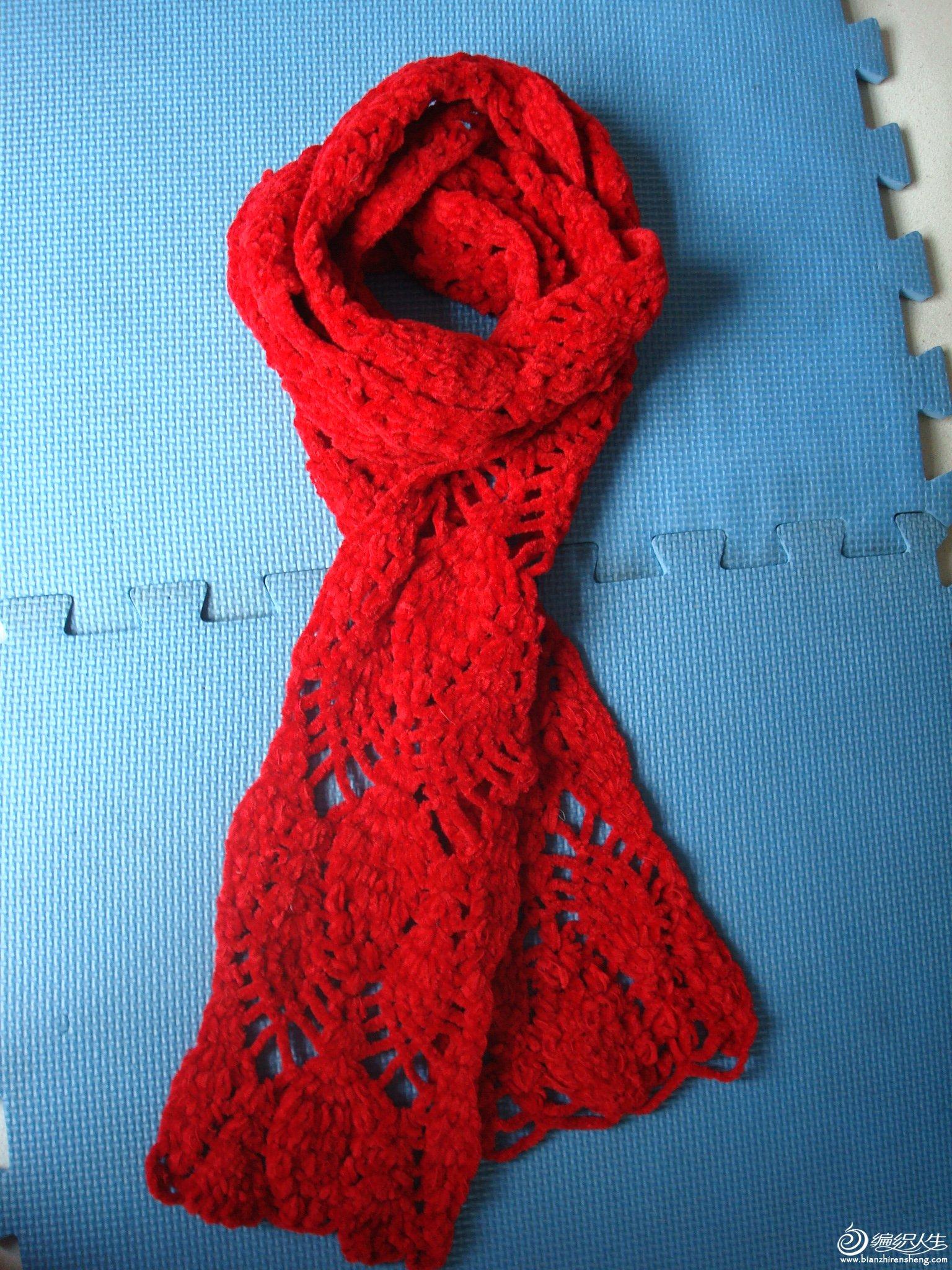 2006.5月红色菠萝花围巾.JPG