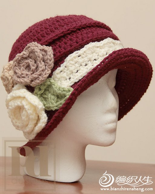 Elegant Ruched Cloche with Roses.jpg