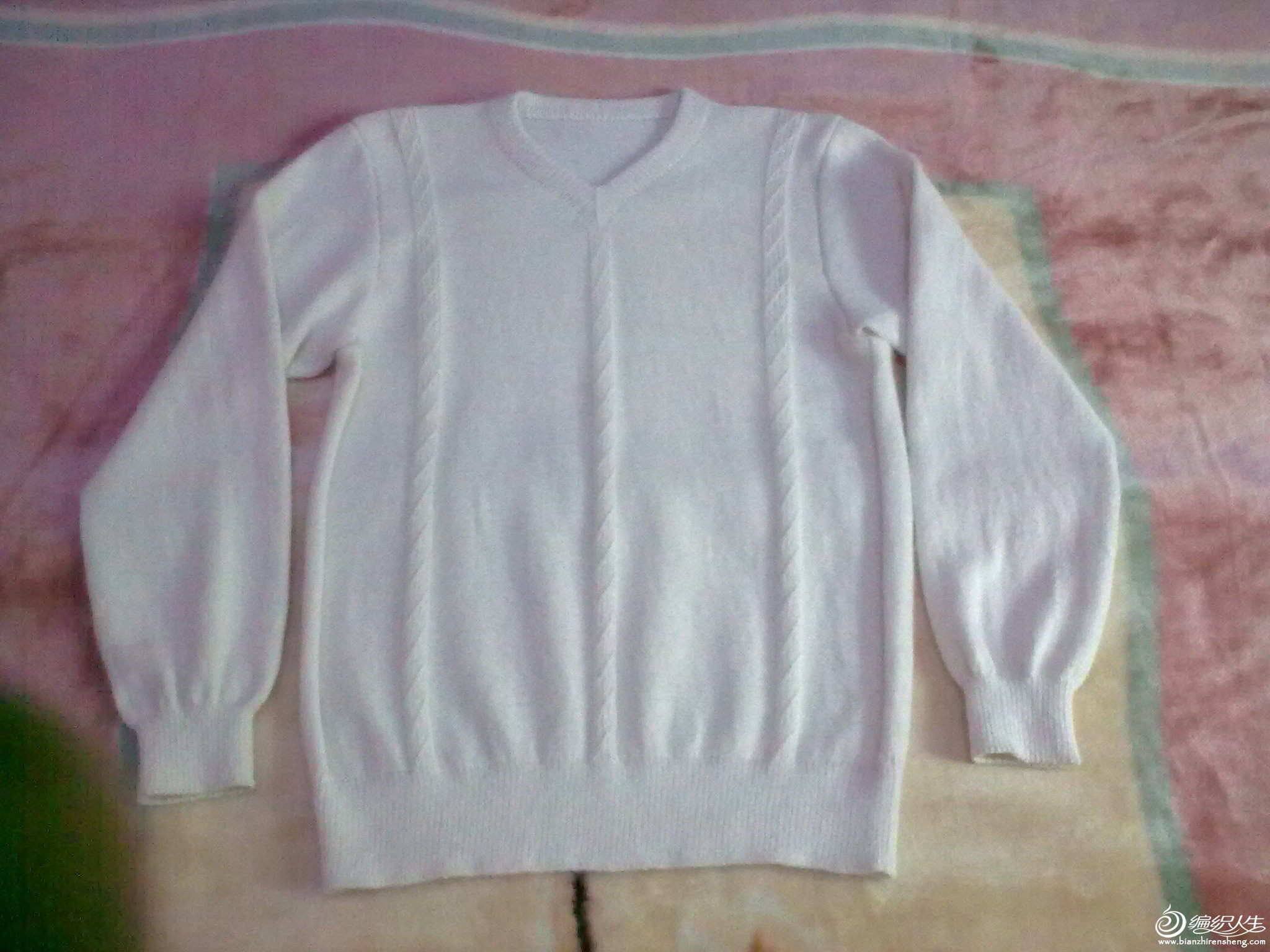 喜洋洋本白色羊绒衫