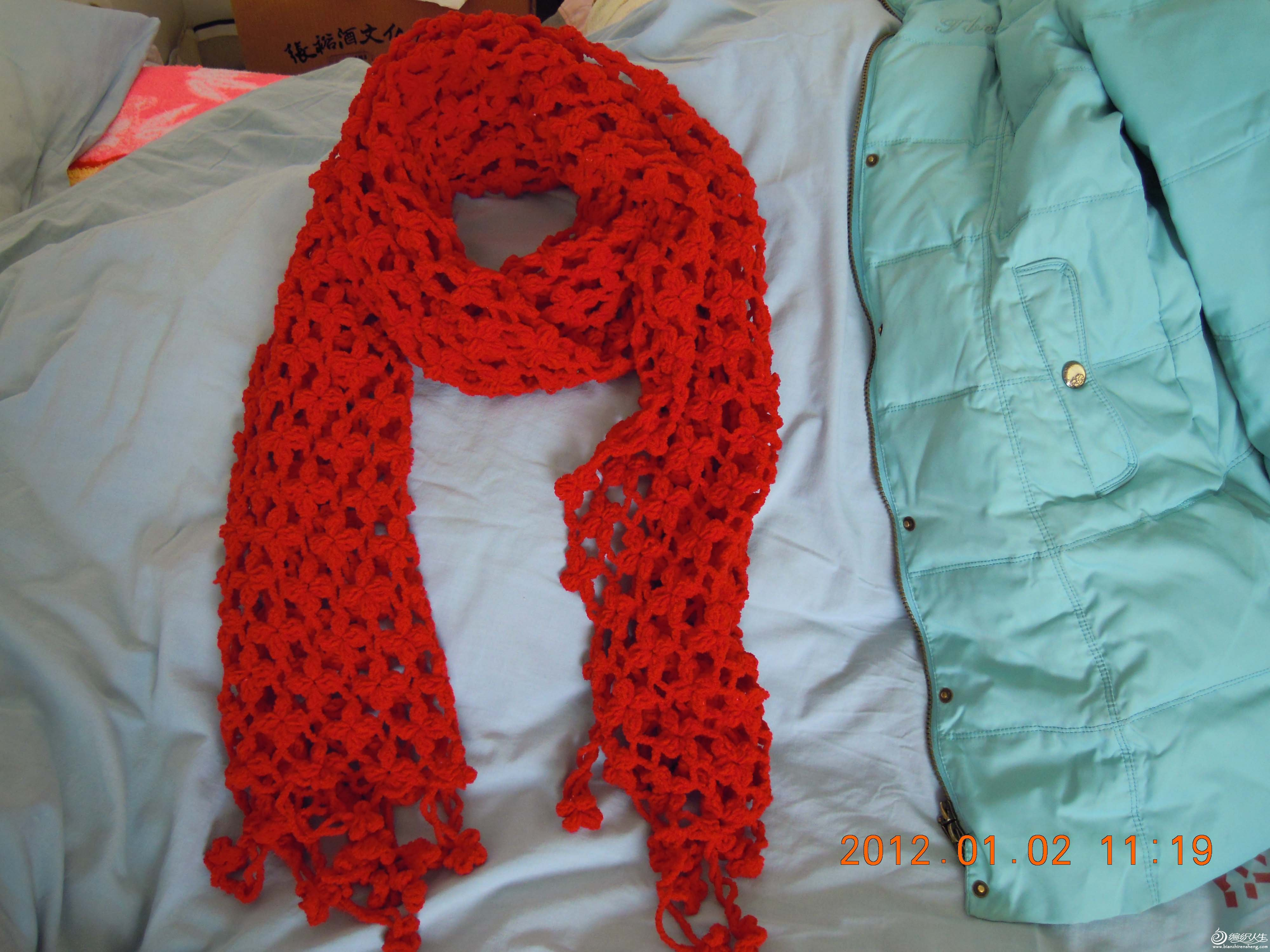 长长的红围巾,2米长0.5米宽
