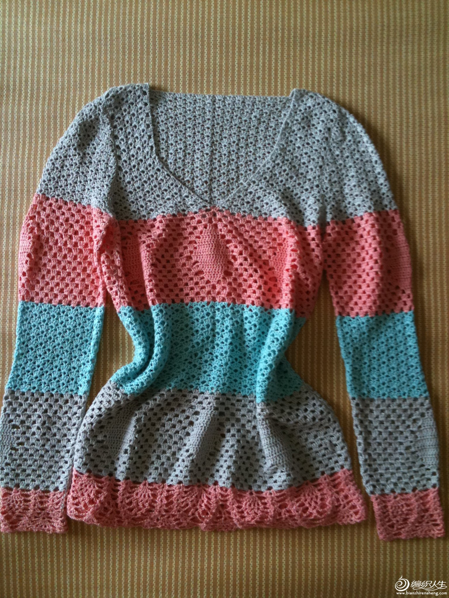 条纹竹棉长衫
