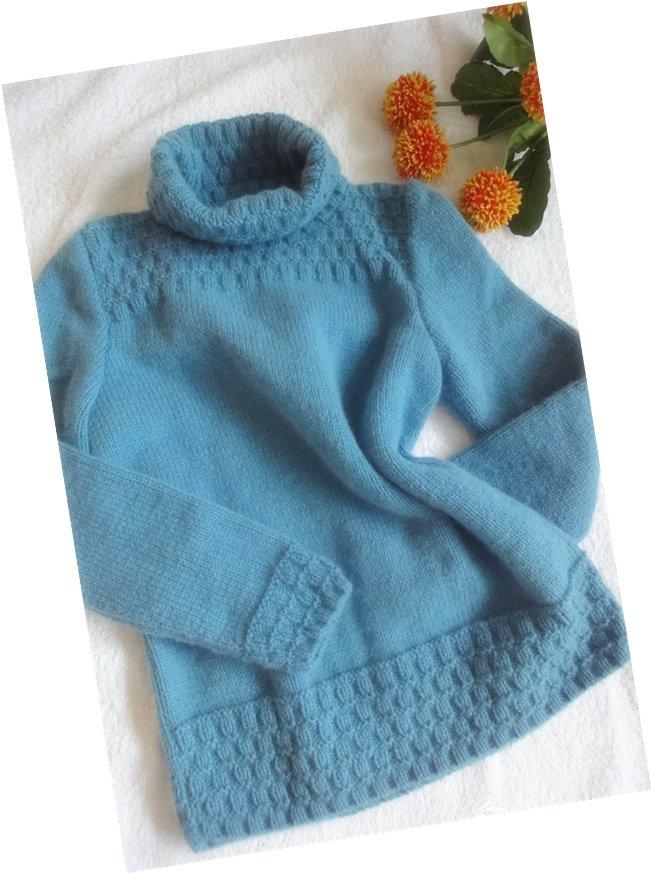 山羊绒儿童毛衣 蓝色.jpg