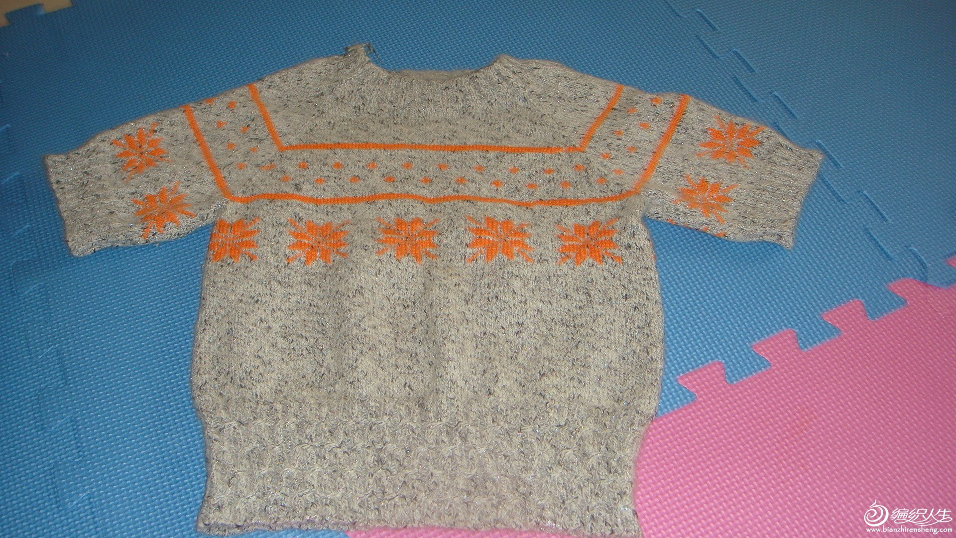 新手织的配色衣好土呀