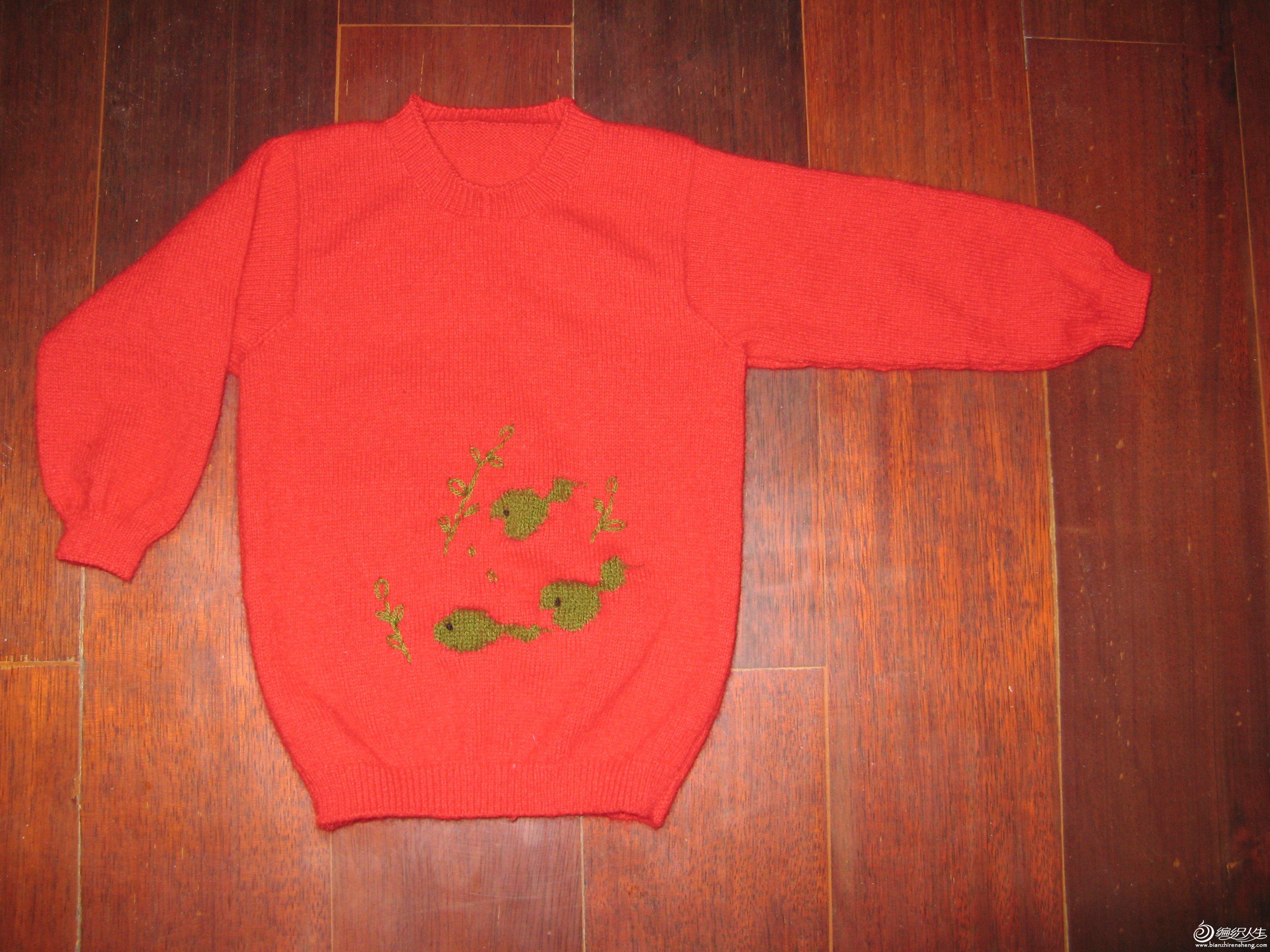 这是一件儿童羊绒衫,先打了三只小吃蝌蚪,觉得单调,就加了几根水草,感觉不错。