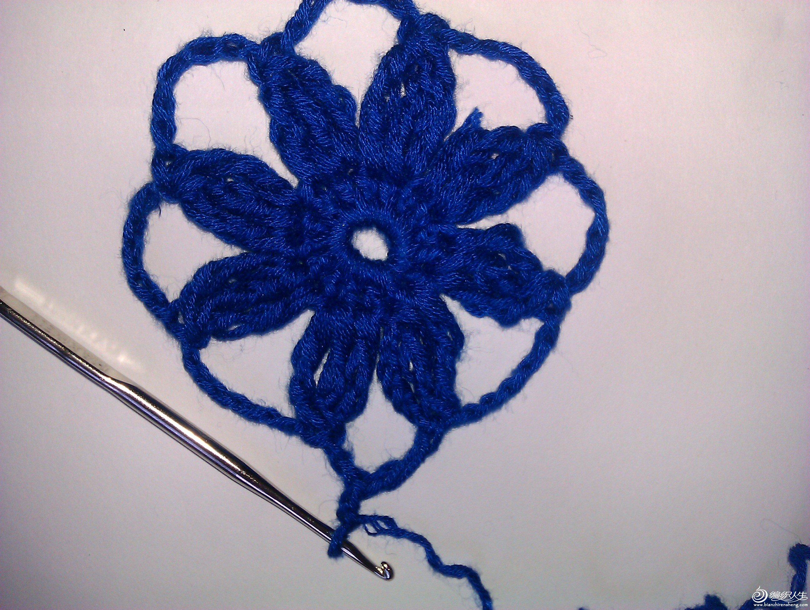 花心6个辫子针16个短针,每个花瓣是3个长针中间用6针辫子连接