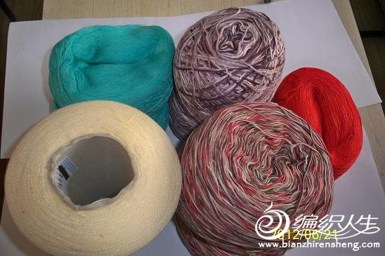意棉米黄,湖绿,大红共2.2斤段染全竹纤维1.2斤,段染棉(已合股成花线了)1斤多,