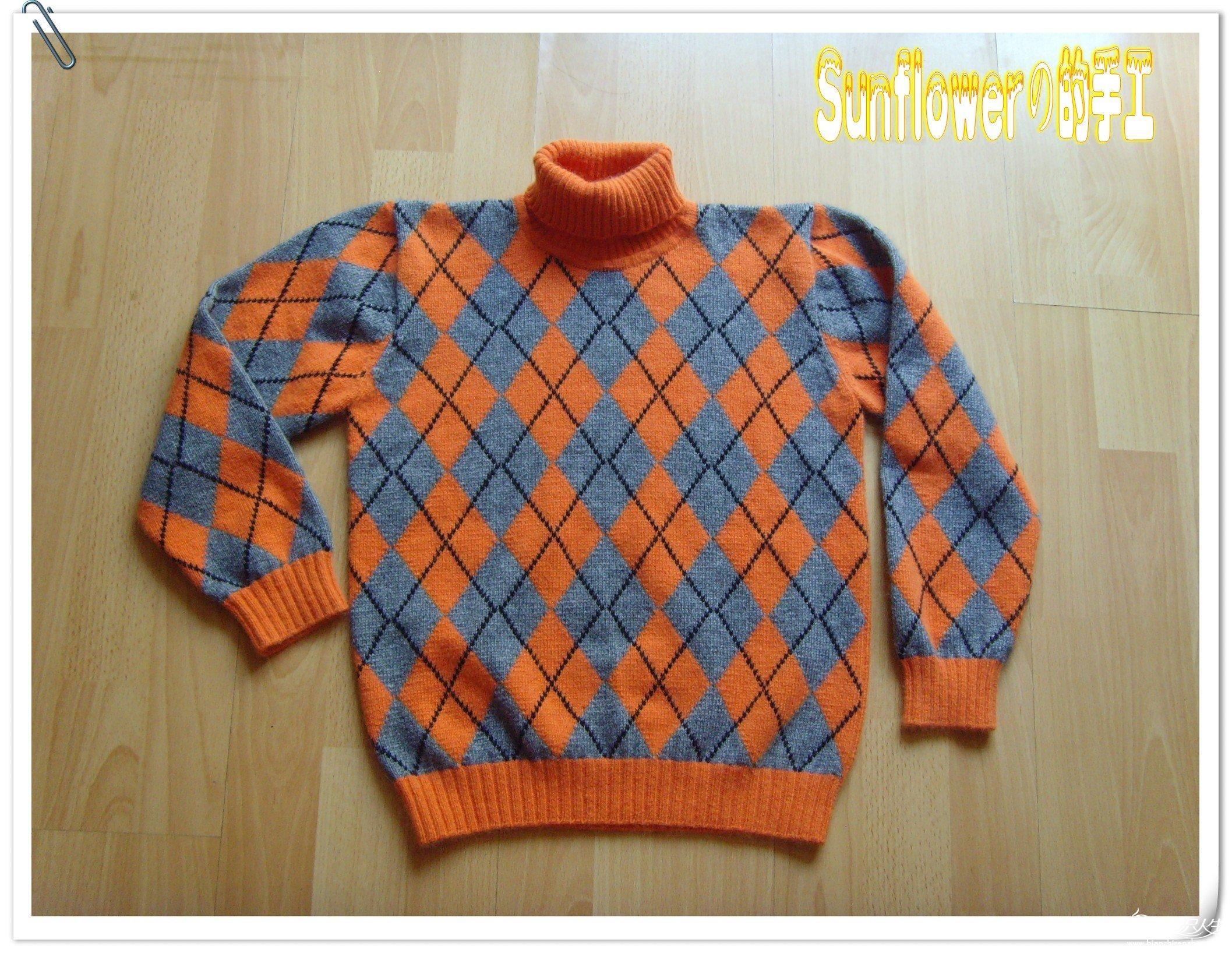 双色菱形儿童羊绒毛衣(有详细的编织说明)