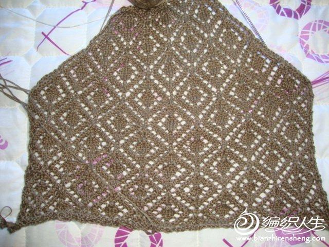 在不知道该怎么织,我实验从下往上织的后片,这个实验很值得。终于弄明白从上往下织的加针方法
