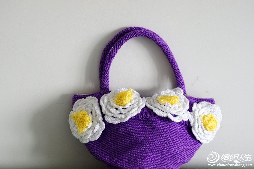 8#蕾丝线演绎棉草拉菲经典款-魅力牡丹手钩包