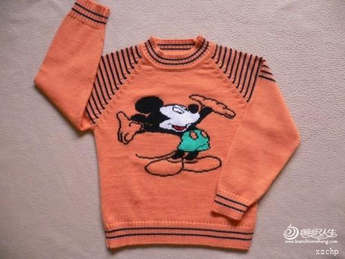 转机织手工绣花儿童毛衣
