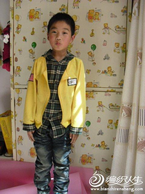 男童假两件3色黄色 真人秀.JPG