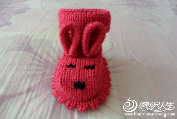 可爱宝宝毛线鞋编织教程 棒针宝宝毛线兔子鞋的织法