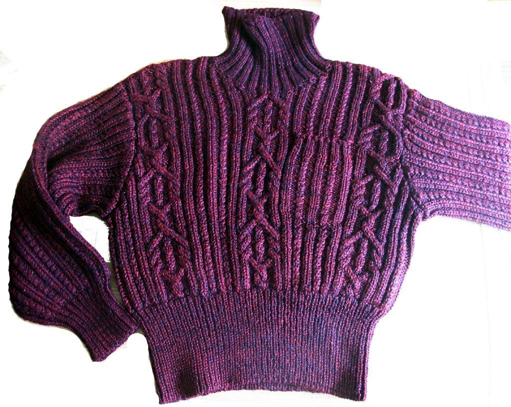 很粗的棒针线短装毛衣