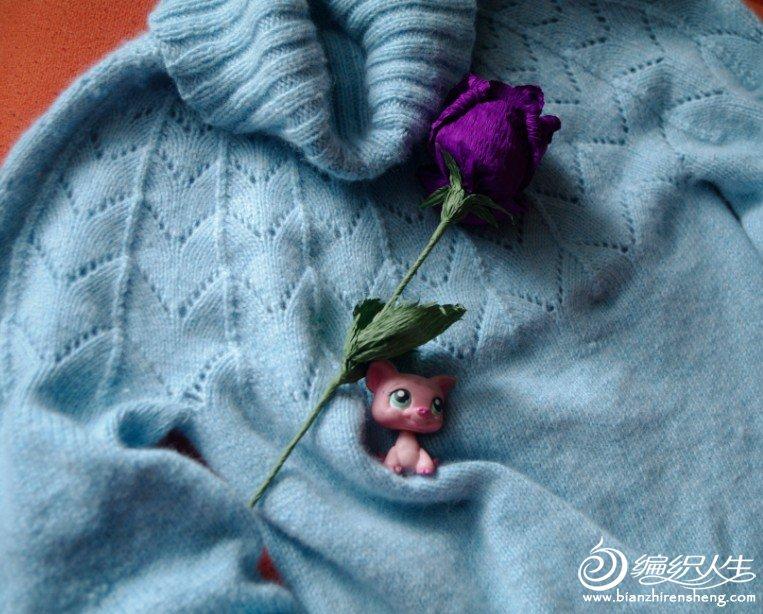 羊绒粉蓝毛衫