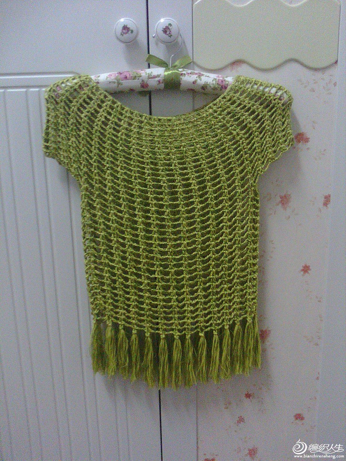 手工钩编 黄绿夹色短袖小衫.JPG