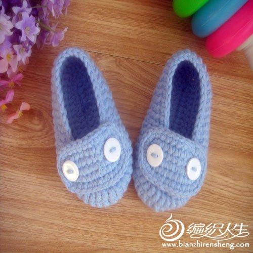 婴儿鞋 蓝色 纽扣1.jpg