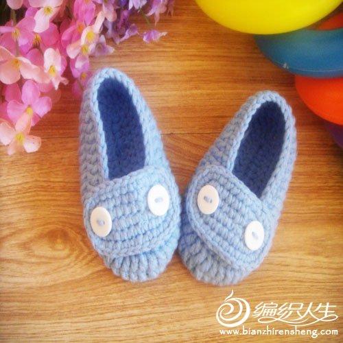 婴儿鞋 蓝色 纽扣2.jpg