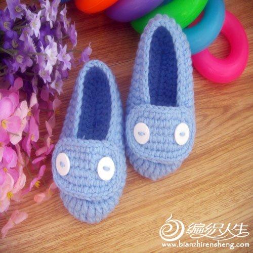 婴儿鞋 蓝色 纽扣a b.jpg