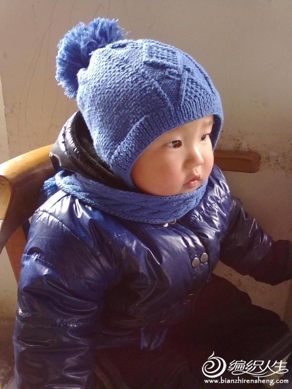 蓝色围脖帽