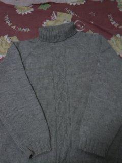 这是原来给老公织的粗线衣,很简单。